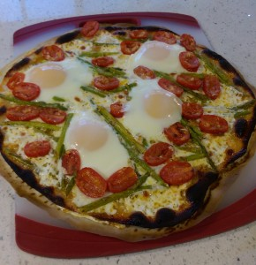 This was from a successful batch, except that I cracked one of the eggs too far into the pizza.